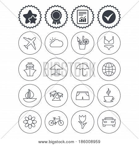 Report, check tick and award signs. Travel icons. Ship, plane and car transport. Beach umbrella, palms and cocktail. Swimming trunks. Rose or tulip flower. Best quality star symbol. Flat buttons