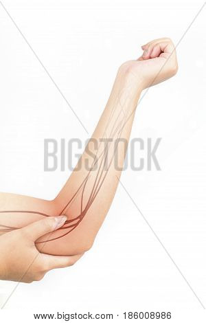elbow nerve injury white background elbow pain