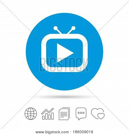 Retro TV mode sign icon. Television set symbol. Copy files, chat speech bubble and chart web icons. Vector