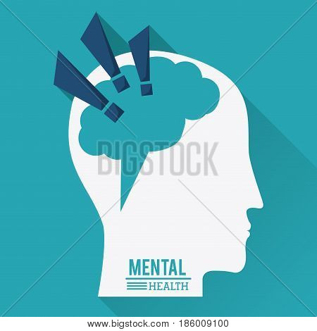 mental health, human head with brain in shape of exclamation mark - vector illustration