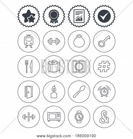 Report, check tick and award signs. Universal icons. Fitness dumbbell, home key and candle. Toilet paper, knife and fork. Microwave oven. Best quality star symbol. Flat buttons. Vector