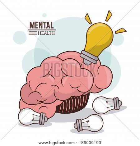 mental health, human brain bulb idea innovation mind vector illustration