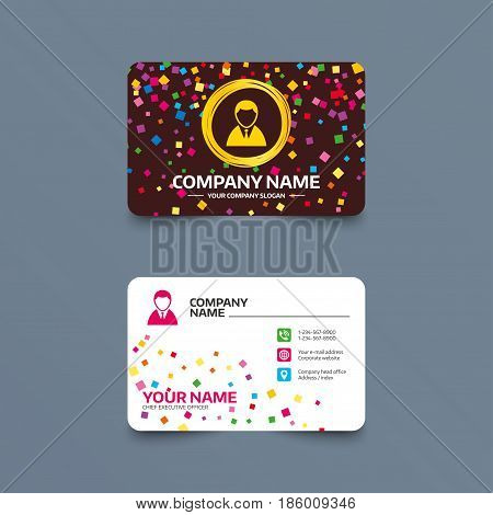 Business card template with confetti pieces. User sign icon. Person symbol. Human in suit avatar. Phone, web and location icons. Visiting card  Vector