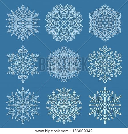 Set of vector snowflakes. White winter ornament. Snowflakes collection. Snowflakes for backgrounds and designs