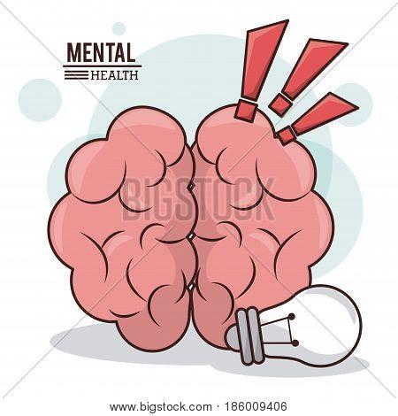 mental health, human brain idea exclamation mark design vector illustration