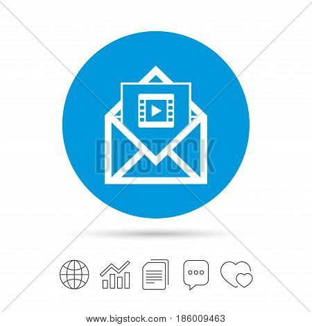 Video mail icon. Video frame symbol. Message sign. Copy files, chat speech bubble and chart web icons. Vector