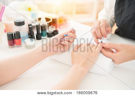 Coloring Nail By Professional Manicure