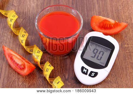 Glucometer With Centimeter, Fresh Tomato And Tomato Juice, Concept Of Diabetes And Healthy Nutrition
