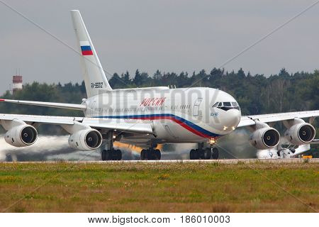 ZHUKOVSKY, MOSCOW REGION, RUSSIA - JULY 14, 2014: Ilyushin IL-96-300PU RA-96012 of President's special flight unit taking off at Zhukovsky with president Vladimir Putin on board.