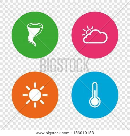 Weather icons. Cloud and sun signs. Storm symbol. Thermometer temperature sign. Round buttons on transparent background. Vector