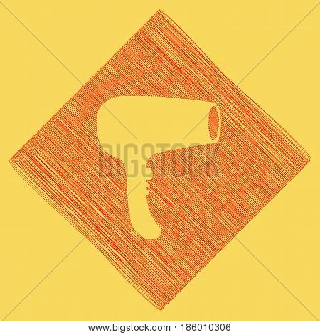 Hair Dryer sign. Vector. Red scribble icon obtained as a result of subtraction rhomb and path. Royal yellow background.