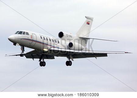 PRAGUE, CZECH REPUBLIC - NOVEMBER 2, 2012: Dassault Falcon 50 YU-BNA of Serbia Government landing at Ruzyne international airport.