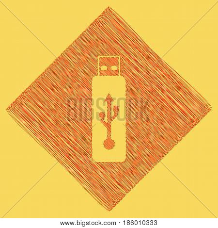 Vector USB flash drive sign. Vector. Red scribble icon obtained as a result of subtraction rhomb and path. Royal yellow background.