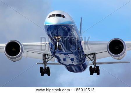 VNUKOVO, MOSCOW REGION, RUSSIA - APRIL 3, 2012: Boeing 787 Dreamliner N787BX landing at Vnukovo international airport during world tour.