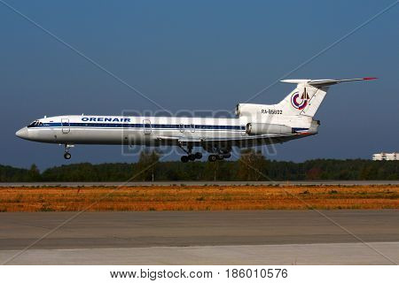 DOMODEDOVO, MOSCOW REGION, RUSSIA - JULY 31 2010: Orenair airlines Tupolev Tu-154B-2 RA-85602 landing at Domodedovo international airport.