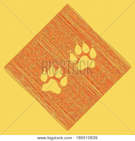 Animal Tracks sign. Vector. Red scribble icon obtained as a result of subtraction rhomb and path. Royal yellow background.