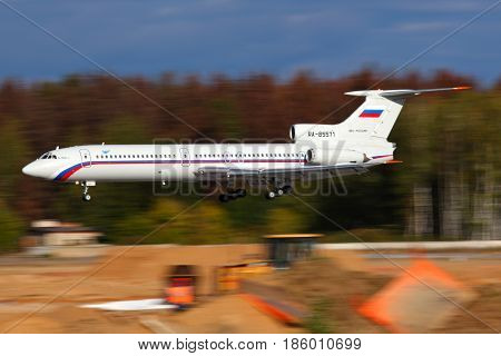 CHKALOVSKY, MOSCOW REGION, RUSSIA - SEPTEMBER 28, 2011: Tupolev Tu-154B-2 RA-85571 of Russian Air Force landing at Chkalovsky.