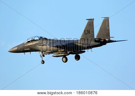 ZHUKOVSKY, MOSCOW REGION, RUSSIA - AUGUST 11, 2011: McDonnell Douglas F-15E Strike Eagle 91-0303 landing at Zhukovsky before MAKS-2011.