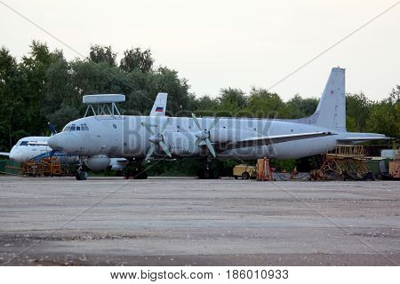ZHUKOVSKY, MOSCOW REGION, RUSSIA - AUGUST 16, 2011: Ilyushin IL-38N 19 RED of russian navy standing at Zhukovsky.
