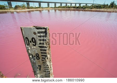 The water gage level at salt pink lake in west gate park, Melbourne, Victoria, Australia.