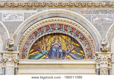 Mosaic by Giuseppe Modena da Lucca, of the Blessed Mary, lunette above the middle door of the Cathedral (Duomo) - Pisa, Tuscany, Italy