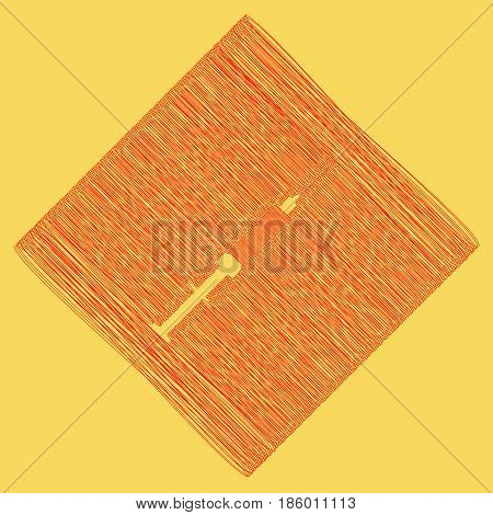 Syringe sign illustration. Vector. Red scribble icon obtained as a result of subtraction rhomb and path. Royal yellow background.