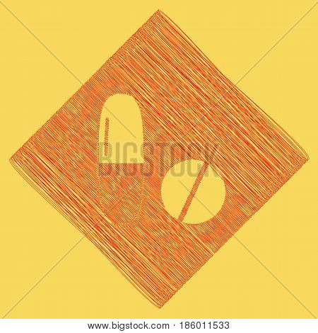 Medical pills sign. Vector. Red scribble icon obtained as a result of subtraction rhomb and path. Royal yellow background.