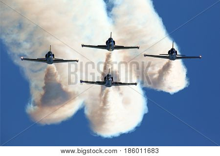 ZHUKOVSKY, MOSCOW REGION, RUSSIA - AUGUST 18, 2011: Rus aerobatics team on Aero L-39 airplanes at Zhukovsky during MAKS-2011.