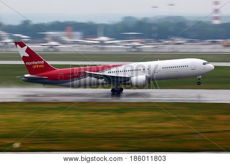 SHEREMETYEVO, MOSCOW REGION, RUSSIA - JUNE 14, 2011: Boeing 767-300 VQ-BRA of Nordwind airlines takes off at Sheremetyevo international airport.
