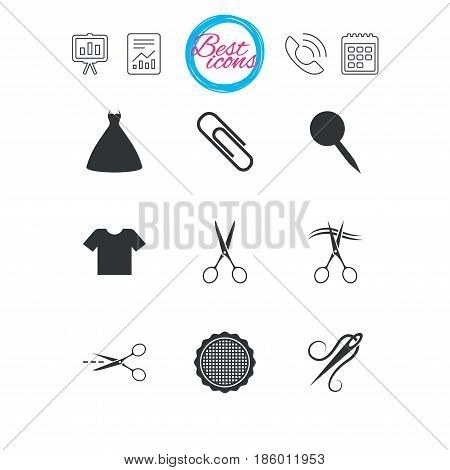 Presentation, report and calendar signs. Tailor, sewing and embroidery icons. Scissors, safety pin and needle signs. Shirt and dress symbols. Classic simple flat web icons. Vector