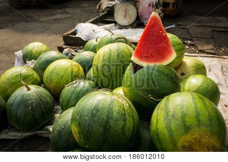 A slice of water melon with red colour on sale in traditional market photo taken in Bogor Indonesia java