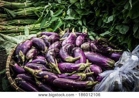 Purple eggplant stacked on top of bamboo basin on sale in traditional market photo taken in Bogor Indonesia java