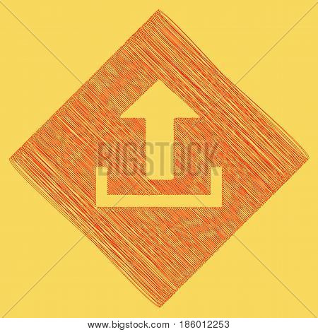 Upload sign illustration. Vector. Red scribble icon obtained as a result of subtraction rhomb and path. Royal yellow background.
