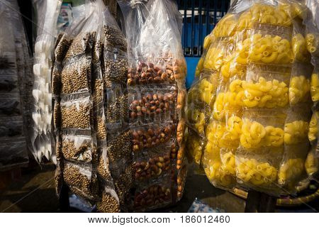 Herbs and spices packed with plastic on sale in traditional market photo taken in Bogor Indonesia java
