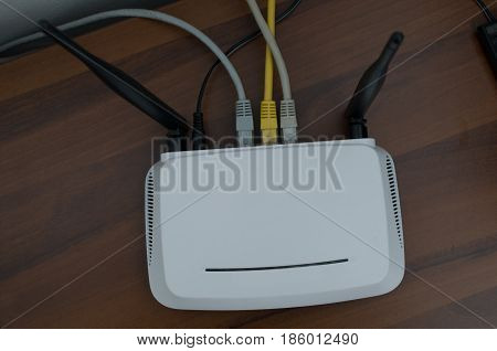 Gray white modem on a clear white background