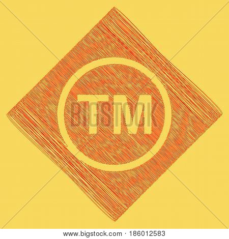 Trade mark sign. Vector. Red scribble icon obtained as a result of subtraction rhomb and path. Royal yellow background.