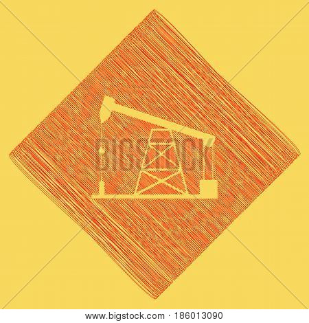 Oil drilling rig sign. Vector. Red scribble icon obtained as a result of subtraction rhomb and path. Royal yellow background.