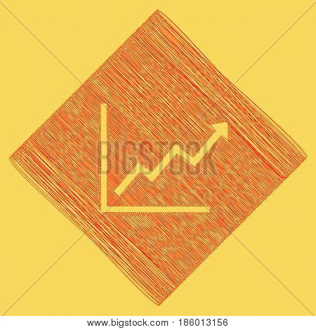 Growing bars graphic sign. Vector. Red scribble icon obtained as a result of subtraction rhomb and path. Royal yellow background.
