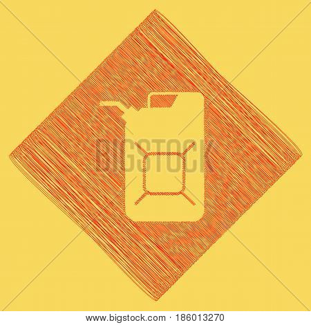 Jerrycan oil sign. Jerry can oil sign. Vector. Red scribble icon obtained as a result of subtraction rhomb and path. Royal yellow background.