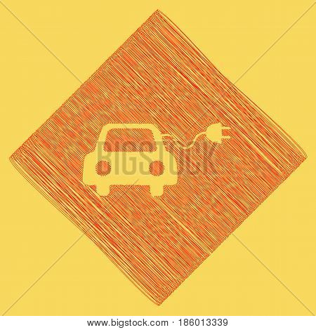 Eco electric car sign. Vector. Red scribble icon obtained as a result of subtraction rhomb and path. Royal yellow background.