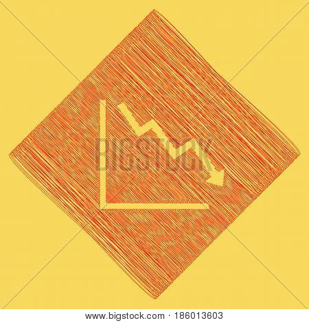 Arrow pointing downwards showing crisis. Vector. Red scribble icon obtained as a result of subtraction rhomb and path. Royal yellow background.