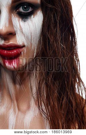 Wet Hair Woman painted Face. Fashion beauty Portrait