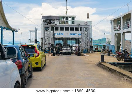 May 11, 2017 Thailand Trat Province Koh Chang car to the ship ferry to Koh Chang travel