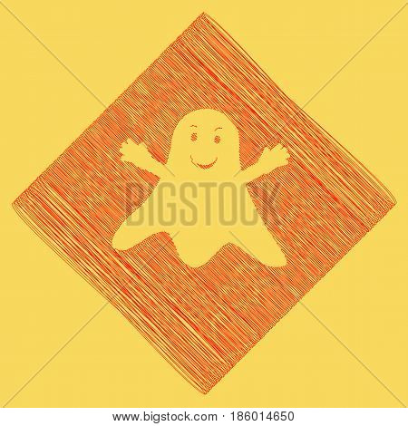 Ghost sign. Vector. Red scribble icon obtained as a result of subtraction rhomb and path. Royal yellow background.