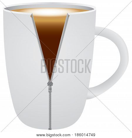 Creative coffee cup with cappuccino. Vector illustration.