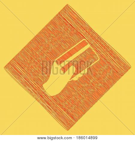 Hand holding a credit card. Vector. Red scribble icon obtained as a result of subtraction rhomb and path. Royal yellow background.