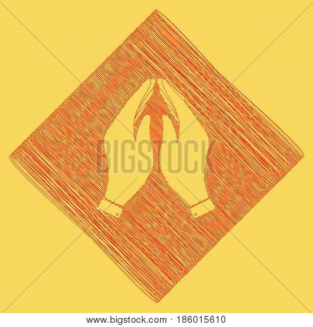 Hand icon illustration. Prayer symbol. Vector. Red scribble icon obtained as a result of subtraction rhomb and path. Royal yellow background.
