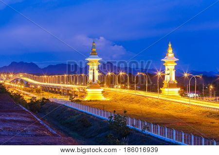 3rd Thai - Laos friendship bridge at twilight time Nakhon Phanom Province Thailand