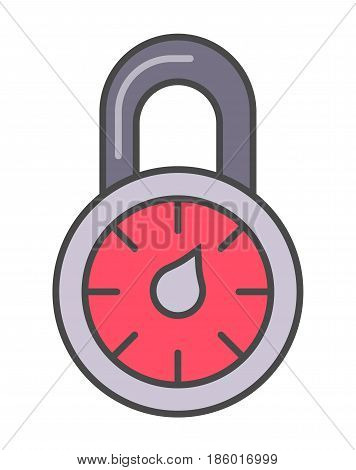 Combination lock pictogram isolated on white background vector illustration. Business protection, security monitoring, identity verification icon