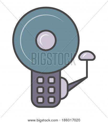 Security alarm system pictogram isolated on white background vector illustration. Business protection, security access, safety monitoring icon